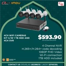 4CH WIFI CAMERAS KIT C/W 1TB HDD AND 4CH XVR