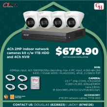 4CH 2MP INDOOR NETWORK CAMERAS KIT C/W 1TB HDD AND 4CH NVR