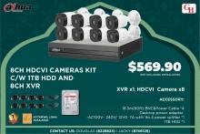 8CH HDCVI CAMERAS KIT C/W 1TB HDD AND 8CH XVR